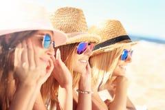 Grupo de amigos que tomam sol na praia Fotografia de Stock