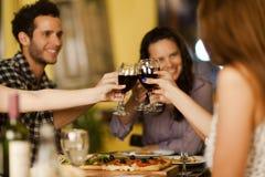 Grupo de amigos que tuestan con el vino Imagen de archivo libre de regalías