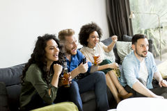 Grupo de amigos que ven TV, sidra de consumición y divirtiéndose Foto de archivo
