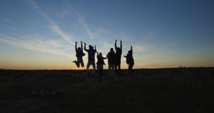Grupo de amigos de refrigeração na natureza no crepúsculo foto de stock royalty free