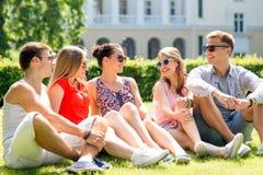 Grupo de amigos sonrientes al aire libre que se sientan en hierba Imagen de archivo libre de regalías