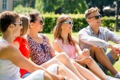 Grupo de amigos sonrientes al aire libre que se sientan en hierba Imágenes de archivo libres de regalías