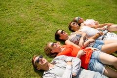 Grupo de amigos sonrientes que mienten en hierba al aire libre Fotografía de archivo