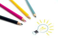 Grupo de ampola colorida de desenho de quatro pastéis Fotos de Stock