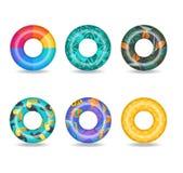 Grupo de anéis infláveis coloridos da nadada ilustração royalty free