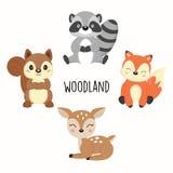 Grupo de animais bonitos da floresta isolados no fundo branco ilustração royalty free