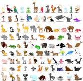 Grupo de 100 animais bonitos dos desenhos animados ilustração stock