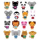 Grupo de animais bonitos dos desenhos animados isolados Fotografia de Stock Royalty Free