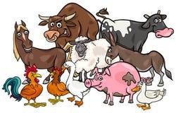Grupo de animais da exploração agrícola dos desenhos animados Imagens de Stock