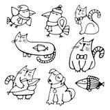 Grupo de animais de estimação desenhados à mão bonitos dos animais do contorno Imagens de Stock Royalty Free