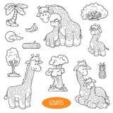 Grupo de animais de exploração agrícola bonitos e objetos, família do vetor dos girafas Imagem de Stock
