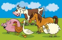 Grupo de animais de exploração agrícola dos desenhos animados Fotografia de Stock Royalty Free
