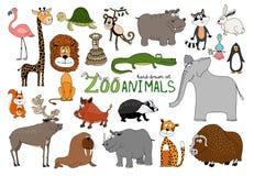 Grupo de animais desenhados à mão do jardim zoológico ilustração royalty free