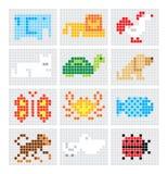 Grupo de animais do esboço do mosaico do vetor Imagem de Stock