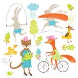 Grupo de animais dos desenhos animados Fotografia de Stock