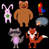Grupo de animais dos desenhos animados do divertimento Imagem de Stock