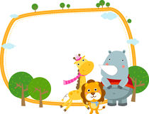 Grupo de animais e de frame Foto de Stock Royalty Free