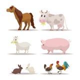 Grupo de animais e de pássaros de exploração agrícola Ilustração do vetor ilustração stock