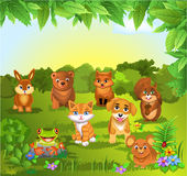 Grupo de animais em um fundo natural Ilustração Royalty Free