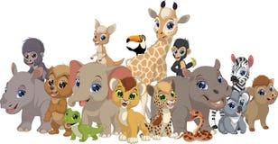 Grupo de animais engraçados das crianças ilustração do vetor
