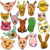 Grupo de animais engraçados e bonitos da garatuja imagens de stock
