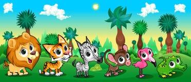 Grupo de animais engraçados na floresta Imagens de Stock Royalty Free