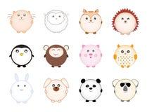 Grupo de animais redondos bonitos dos desenhos animados Imagem de Stock