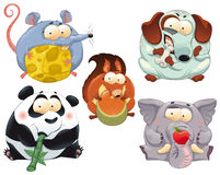 Grupo de animales divertidos con el alimento. Imagenes de archivo