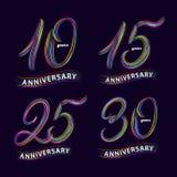 Grupo de 10, 15, 25, 30 anos de aniversário Mão escrita rotulando números Imagem de Stock Royalty Free