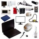 Grupo de aparelhos eletrodomésticos no fundo branco Foto de Stock Royalty Free