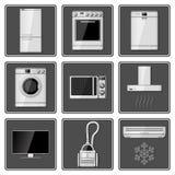 Grupo de aparelhos eletrodomésticos realísticos Fotografia de Stock Royalty Free