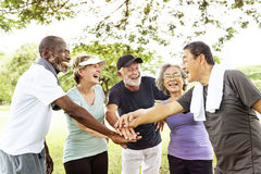 Grupo de aposentadoria superior que exercita o conceito da unidade Imagem de Stock Royalty Free