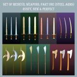 Grupo de armas medievais para jogos de interpretação de personagem Foto de Stock