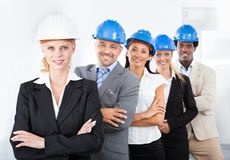 Grupo de arquitetos multirraciais felizes Fotografia de Stock