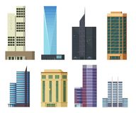 Grupo de arranha-céus dos ícones Construções e casas modernas da cidade, ilustração lisa Imagem de Stock Royalty Free