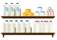 Grupo de artículos de la lechería stock de ilustración