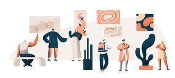 Grupo de Art Gallery Museum Exhibition Visitor Carácter de la gente en la excursión de pintura famosa de las ilustraciones Imagen libre illustration