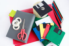 Grupo de artigos de papelaria da escola e do escritório Fotografia de Stock Royalty Free