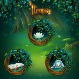 Grupo de artigos diferentes para o GUI sombrio da floresta ilustração royalty free