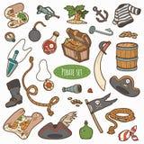 Grupo de artigos do pirata, coleção colorida do vetor dos desenhos animados Fotografia de Stock
