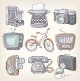 Grupo de artigos do vintage ilustração royalty free