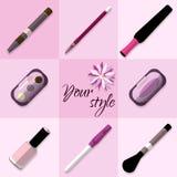 Grupo de artigos dos cosméticos Fotografia de Stock Royalty Free
