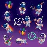 Grupo de astronautas do partido no espaço Fotos de Stock Royalty Free