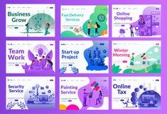 Grupo de aterrissagem da ilustração da página do vetor do mercado com cor e conceito diferentes ilustração royalty free