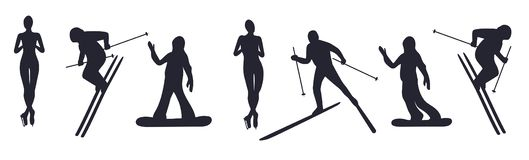 Grupo de atletas isolados Ilustração do vetor Azul, placa, pensionista, embarque, exercício, extremo, divertimento, papagaio, kit ilustração royalty free