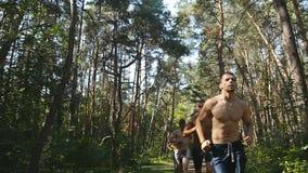 Grupo de atletas musculares novos que correm no trajeto de floresta Dar certo masculino atlético considerável apto dos sportsmens video estoque