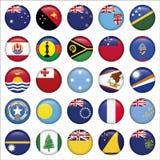Grupo de australiano, ícones redondos da bandeira de Oceania Fotografia de Stock