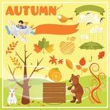 Grupo de Autumn Elements e de ilustrações Imagem de Stock