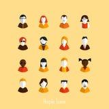 Grupo de avatars à moda das meninas e dos indivíduos Fotografia de Stock Royalty Free