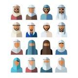 Grupo de avatars árabes dos povos, isolado em um fundo branco Homem e mulher Ilustração do vetor ilustração do vetor